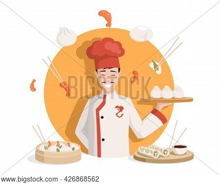 Chef In Traditional Chinese Kimono Vector Flat Illustration. Tasty Delicious Chinese Cuisine, Dim Su