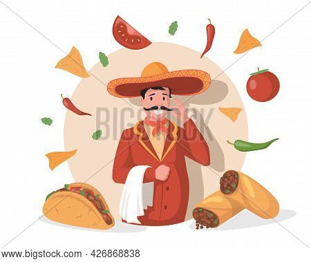 Smiling Chef In Big Mexican Hat Sombrero Vector Flat Illustration. Tasty Delicious Mexican Cuisine,