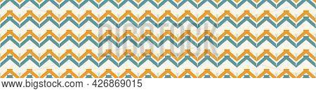 Summer Tropical Chevron Seamless Border Pattern. Bright Retro Zig Zag Banner Edge. Fun Gender Neutra