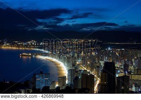 Night View Of The Tourist City Of Benidorm On The Spanish Coast