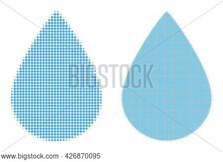 Dot Halftone Water Drop Icon. Vector Halftone Mosaic Of Water Drop Icon Designed With Spheric Points
