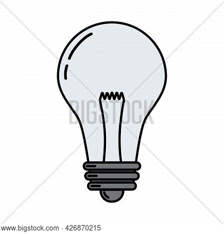 Electric Incandescent Lamp. Doodle Style Icon. Vector Illustration For Poster, Banner, Background, C
