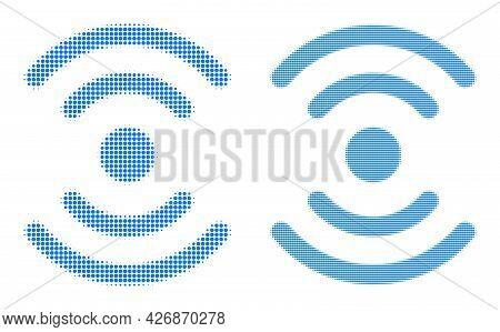 Pixel Halftone Radio Source Icon. Vector Halftone Mosaic Of Radio Source Icon Formed Of Round Elemen