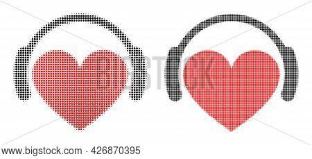 Dot Halftone Love Heart Headphones Icon. Vector Halftone Pattern Of Love Heart Headphones Icon Forme
