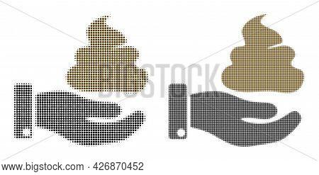 Dot Halftone Hand Give Shit Icon. Vector Halftone Pattern Of Hand Give Shit Icon Created Of Round El