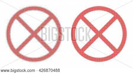Pixel Halftone Restricted Icon. Vector Halftone Concept Of Restricted Pictogram Organized Of Spheric