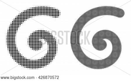 Dotted Halftone Spiral Icon. Vector Halftone Collage Of Spiral Icon Designed Of Spheric Points.