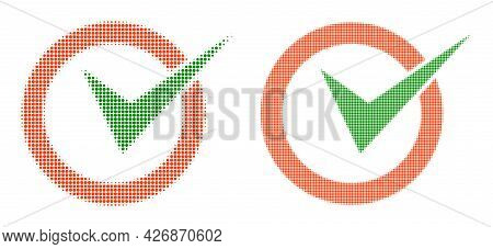 Dotted Halftone Checkbox Circle Icon. Vector Halftone Collage Of Checkbox Circle Icon Organized Of C