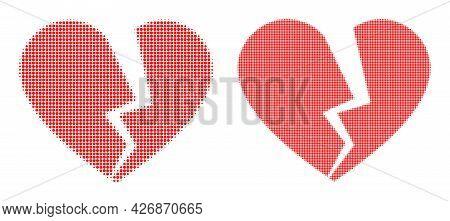 Dot Halftone Broken Love Heart Icon. Vector Halftone Mosaic Of Broken Love Heart Icon Organized Of R