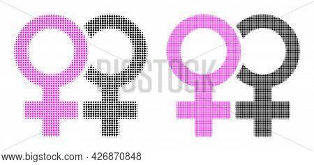 Dot Halftone Lesbian Couple Symbol Icon. Vector Halftone Collage Of Lesbian Couple Symbol Icon Compo