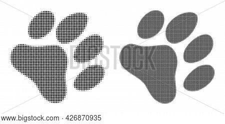 Dotted Halftone Paw Footprint Icon. Vector Halftone Collage Of Paw Footprint Icon Composed Of Circle