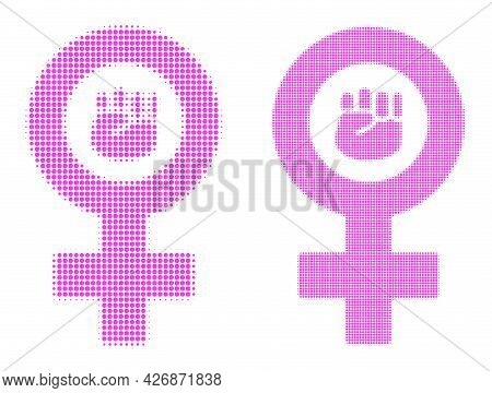 Dot Halftone Feminism Symbol Icon. Vector Halftone Composition Of Feminism Symbol Icon Organized Of