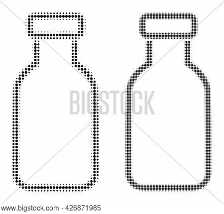 Pixelated Halftone Empty Vial Icon. Vector Halftone Concept Of Empty Vial Icon Made From Circle Elem