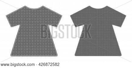 Dot Halftone Lady Dress Icon. Vector Halftone Pattern Of Lady Dress Icon Done With Spheric Elements.