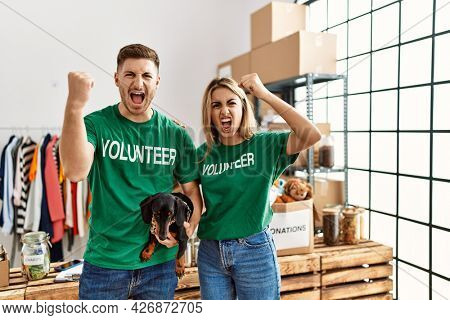 Young couple with cute dog wearing volunteer t shirt at donations stand annoyed and frustrated shouting with anger, yelling crazy with anger and hand raised