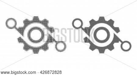 Pixel Halftone Gear Project Icon. Vector Halftone Composition Of Gear Project Icon Made Of Circle Pi