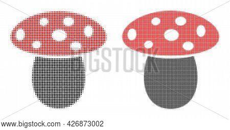 Dotted Halftone Mushroom Icon. Vector Halftone Mosaic Of Mushroom Symbol Done Of Spheric Pixels.