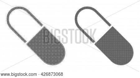 Pixelated Halftone Medical Capsule Icon. Vector Halftone Concept Of Medical Capsule Icon Made Of Rou