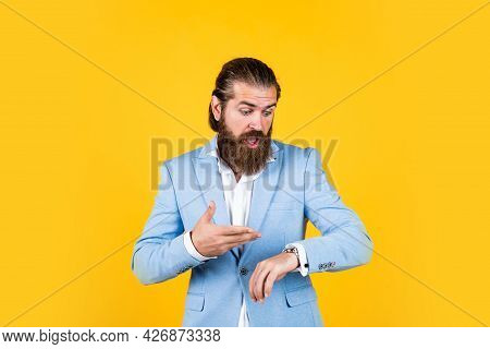Have No Time. Old Fashioned Bearded Hipster Watching Time On Luxury Clock. Time Management Concept.