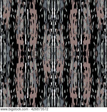 Ikat, Tie Dye. Batik, Hand Drawn Ornament. Geo Surface. Endless Repeat Painting. Black Gray Modern V