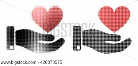Dot Halftone Hand Offer Love Heart Icon. Vector Halftone Concept Of Hand Offer Love Heart Icon Done
