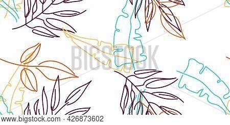 Tropical Leaf. Modern Motif. Pastel One Line Drawing. Jungle Print. Foliage Summer Seamless Pattern.