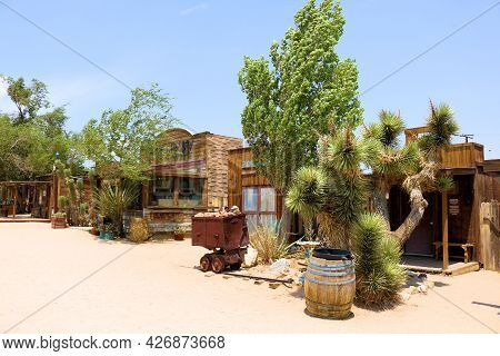 July 14, 2021 In Pioneertown, Ca:  Joshua Tree, Cacti Plants, And Trees On Arid Gardens Besides Hist