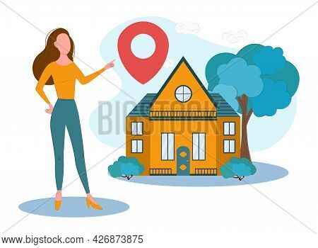 A Real Estate Agent Offers A Home For Purchase Or Rent. Web Design, Marketing And Print Materials. C