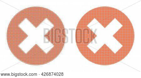 Dotted Halftone Delete Icon. Vector Halftone Composition Of Delete Icon Combined Of Spheric Items.