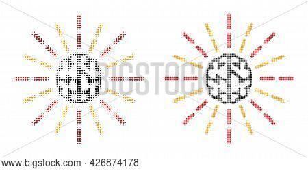 Pixel Halftone Brain Shine Icon. Vector Halftone Collage Of Brain Shine Pictogram Organized Of Circl
