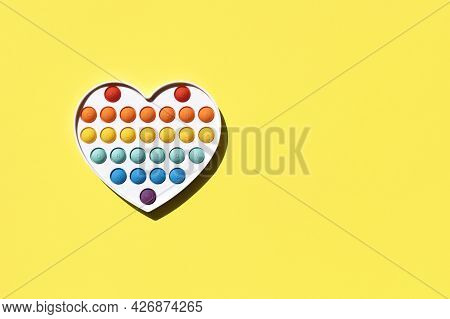 The Popular Educational Toy 2021 - Silicone Antistress Pop It Simple Dimple Multicolored In A Heart