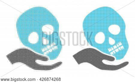Dotted Halftone Hand Holds Skull Icon. Vector Halftone Mosaic Of Hand Holds Skull Icon Designed Of S