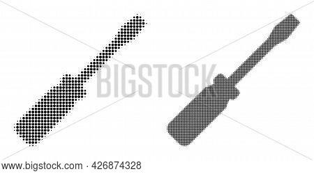 Pixelated Halftone Screwdriver Tool Icon. Vector Halftone Collage Of Screwdriver Tool Icon Organized
