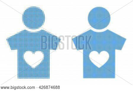 Pixel Halftone Lover Boy Icon. Vector Halftone Composition Of Lover Boy Icon Designed Of Spheric Ite