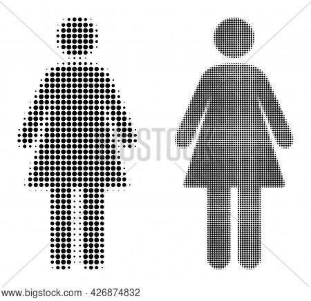Dot Halftone Woman Icon. Vector Halftone Pattern Of Woman Icon Composed Of Circle Dots.