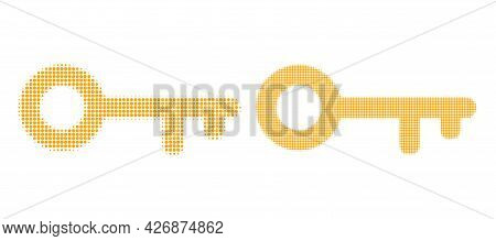 Dot Halftone Key Icon. Vector Halftone Concept Of Key Icon Made Of Round Dots.