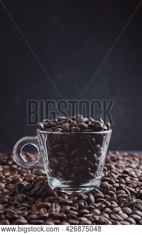 Coffee Cup With Roasted Beans . Template For Advertising Coffee. Coffee Concept.the Aroma Of Coffee.