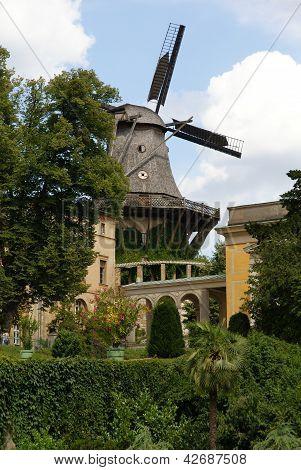 Old windmill in garden