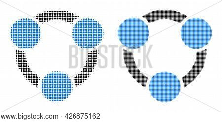 Pixelated Halftone Collaboration Icon. Vector Halftone Concept Of Collaboration Icon Constructed Of