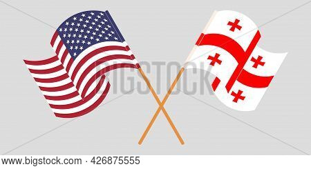 Crossed And Waving Flags Of Georgia And The Usa