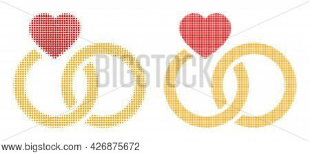Dotted Halftone Marriage Rings Icon. Vector Halftone Pattern Of Marriage Rings Icon Organized Of Rou