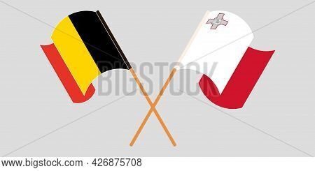 Crossed And Waving Flags Of Malta And Belgium