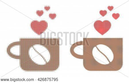 Dotted Halftone Lovely Coffee Cup Icon. Vector Halftone Concept Of Lovely Coffee Cup Icon Done Of Sp