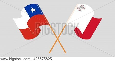 Crossed And Waving Flags Of Malta And Chile
