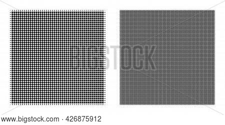 Pixelated Halftone Square Icon. Vector Halftone Collage Of Square Icon Made From Round Pixels.