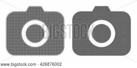 Dotted Halftone Photocamera Icon. Vector Halftone Concept Of Photocamera Icon Composed Of Circle Ite