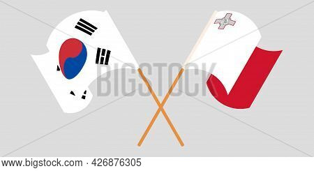 Crossed And Waving Flags Of Malta And South Korea