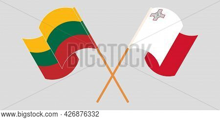 Crossed And Waving Flags Of Malta And Lithuania