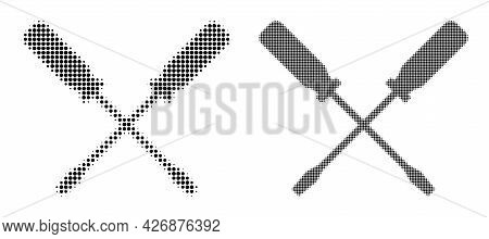 Pixel Halftone Screwdrivers Icon. Vector Halftone Concept Of Screwdrivers Icon Combined Of Spheric D