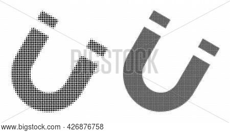 Pixel Halftone Horseshoe Magnet Icon. Vector Halftone Pattern Of Horseshoe Magnet Icon Made From Sph